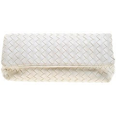 Bottega Veneta White Intrecciato Leather Clutch