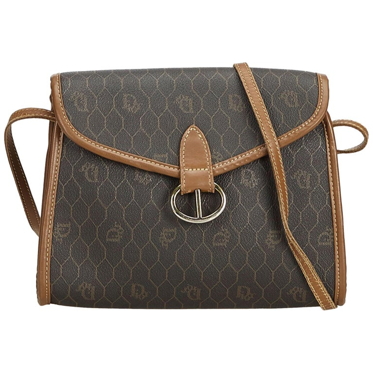 Dior Black x Brown x Light Brown Honeycomb Coated Canvas Crossbody Bag For  Sale cf0308d00c