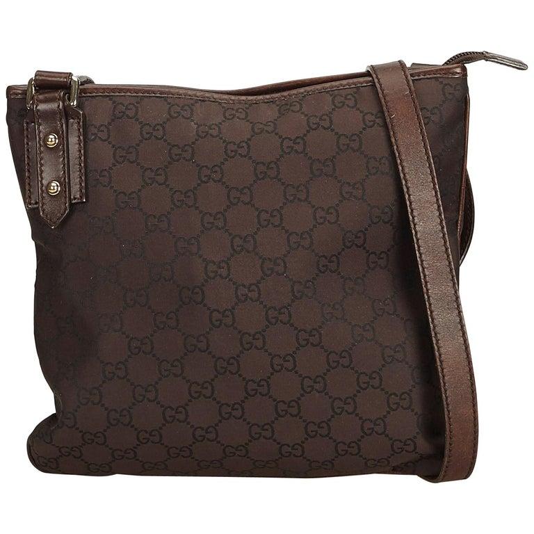 e2a594fcbe47 Gucci Brown x Dark Brown Guccissima Canvas Crossbody bag at 1stdibs