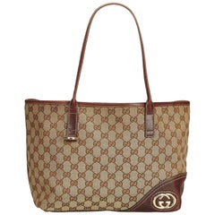 Gucci Brown x Beige Guccissima Canvas Britt Tote Bag
