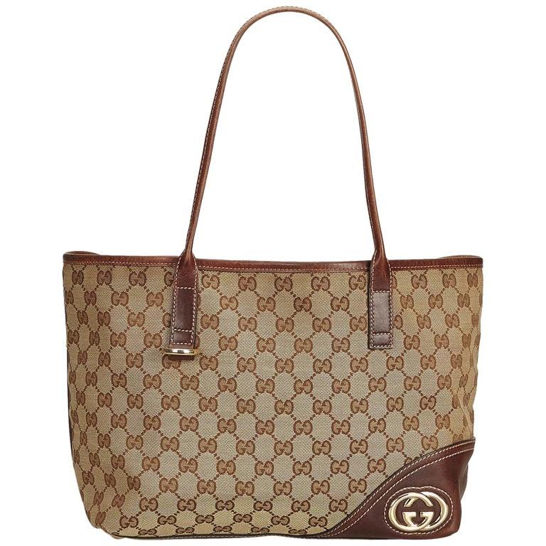8f58d300a0e Gucci Brown x Beige Guccissima Canvas Britt Tote Bag at 1stdibs