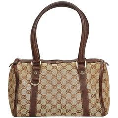 Gucci Brown x Beige Guccissima Canvas Boston Bag
