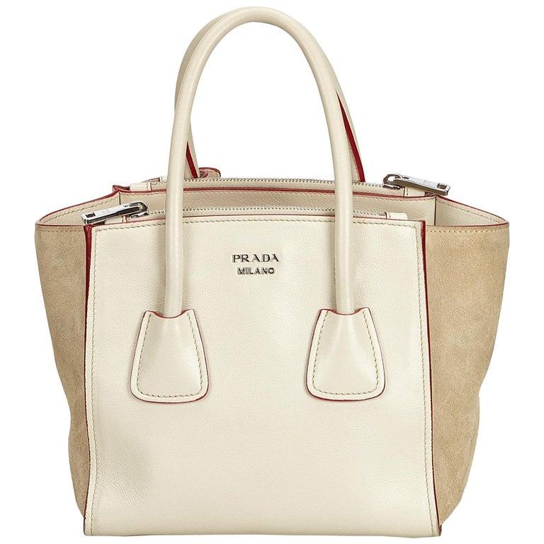 1dca16628c6f Prada White Leather Twin Handbag at 1stdibs