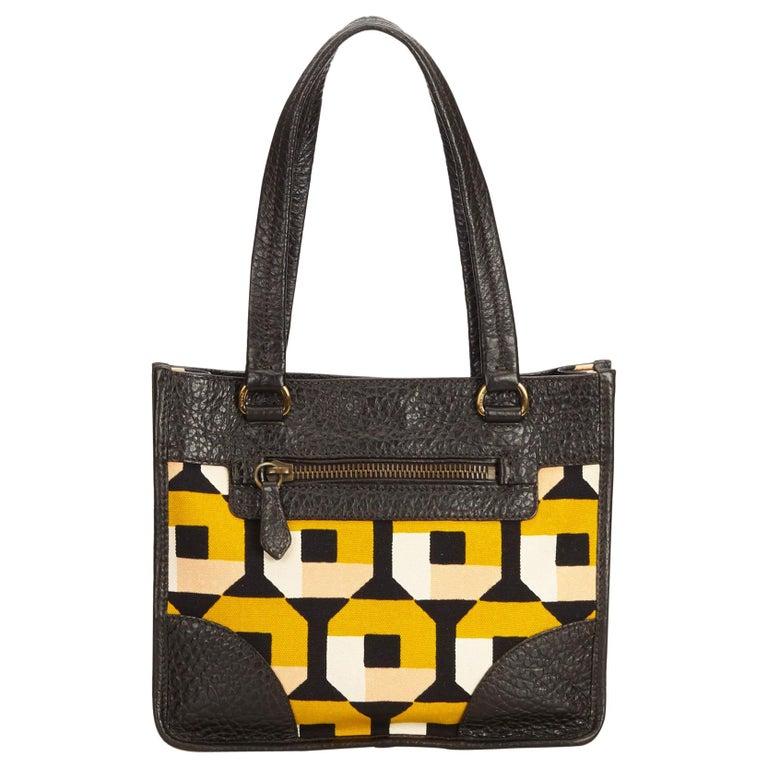 fb02e9464152 Prada Brown x Multi Printed Canvas Handbag at 1stdibs