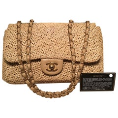 Chanel Tan Raffia Classic Flap Shoulder Bag