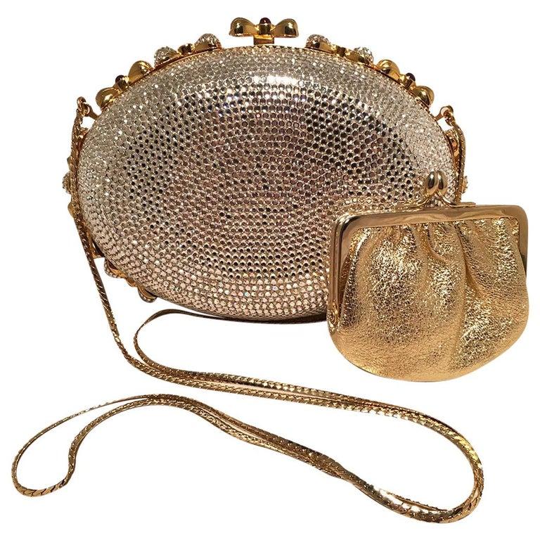 Judith Leiber Swarovski Crystal Oval Bow Trim Minaudiere Evening Bag Clutch For Sale