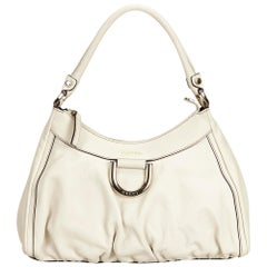 Gucci White Guccissima Leather D-Ring Shoulder Bag