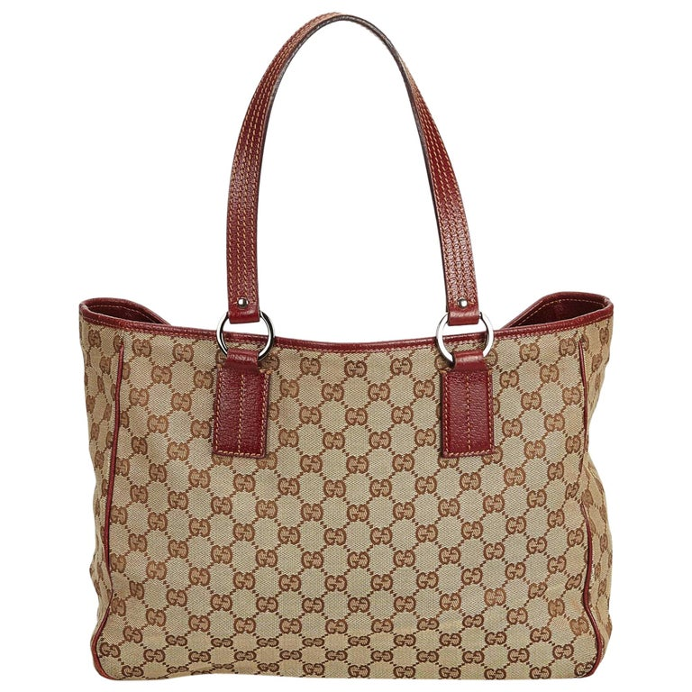 636519acf06 Gucci Brown x Red Guccissima Canvas Tote at 1stdibs