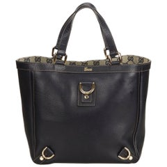 Gucci Black Leather Abbey Line D Ring Tote