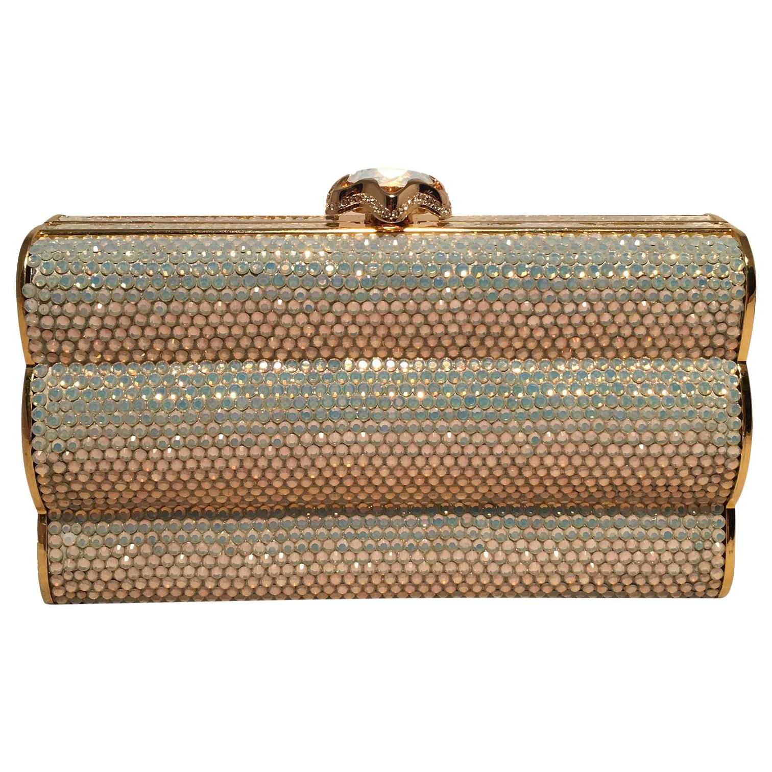 Judith Leiber Iridescent Swarovski Crystal Gold Minaudiere Evening Bag Clutch