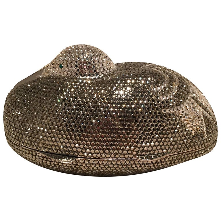 Judith Leiber Vintage Silver and Gray Swarovski Crystal Sitting Duck Minaudiere For Sale