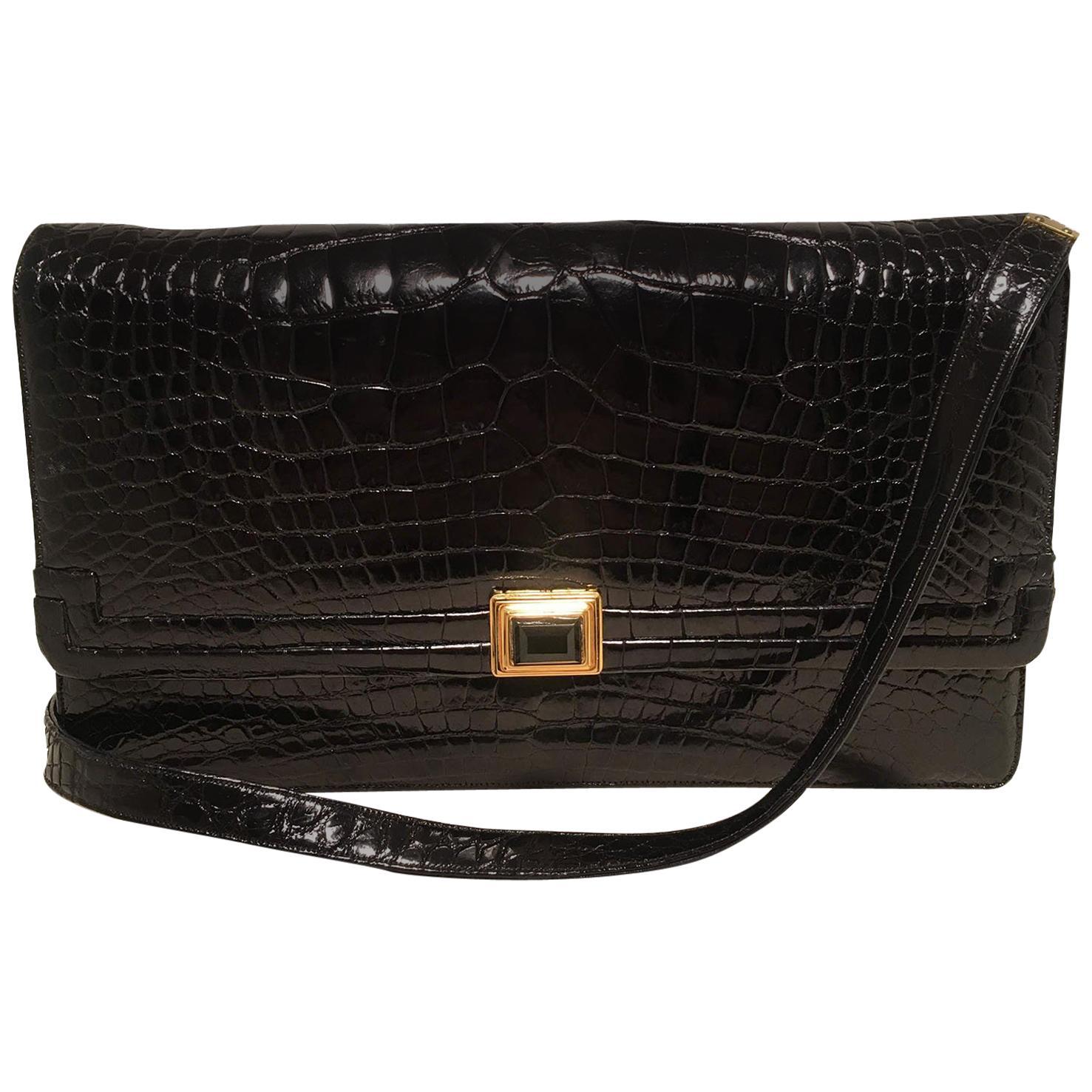 Judith Leiber Vintage Black Alligator Shoulder Bag Clutch