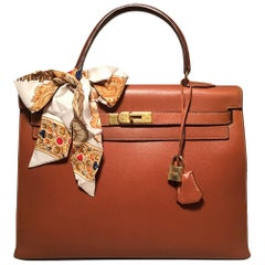 Hermes Vintage Tan Epsom 35cm Kelly Bag GHW