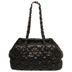 Chanel Black Quilted Puffy Leather Shoulder Bag Tote
