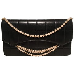 Chanel Black Leather Square Quilted Pearl Chain Classic Flap Shoulder Bag