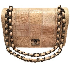 RARE Chanel Natural Beige Crocodile Quilted Classic Flap Shoulder Bag