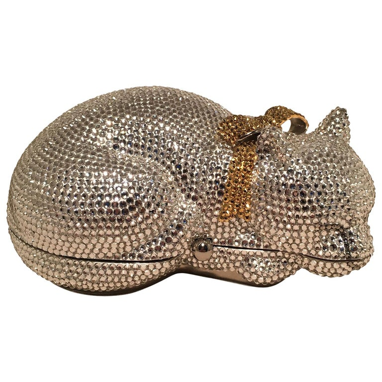 Judith Leiber Clear Swarovski Crystal Cat Minaudiere with Gold Bow For Sale