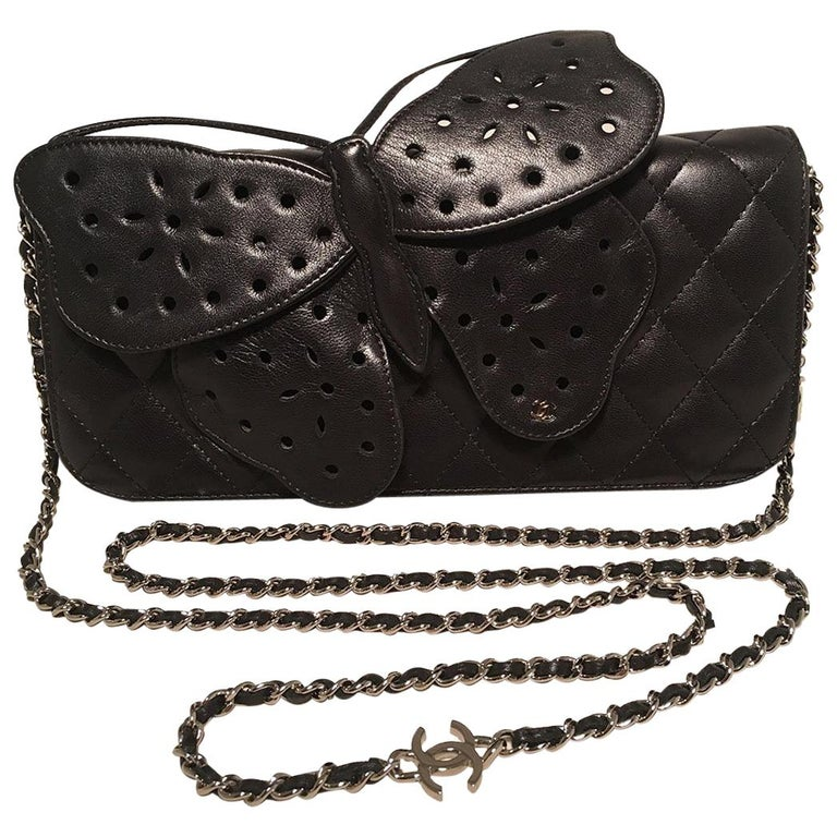 Chanel Quilted Black Leather Butterfly Classic Flap Shoulder Bag For Sale