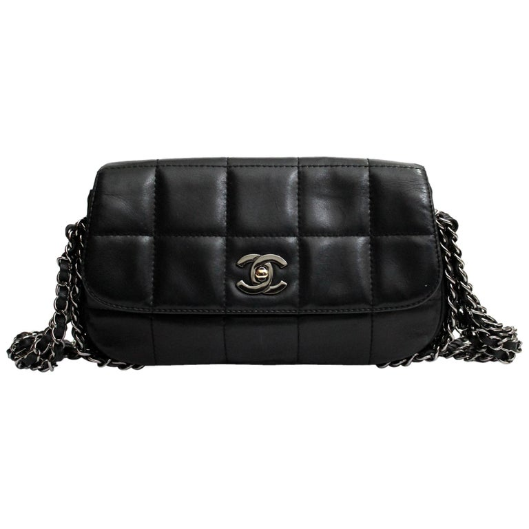 Chanel Black Leather Multiple Chain Bg  For Sale