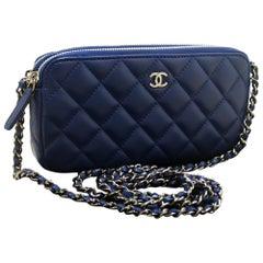 Never Used CHANEL Lamb WOC Wallet On Chain Zip Chain Shoulder bag