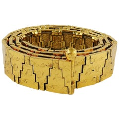 Yves Saint Laurent YSL Gold Toned Geometric Pattern Belt