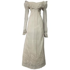 Mameluck Dress in Muslin and Embroidered Veil - First French Empire Circa 1810
