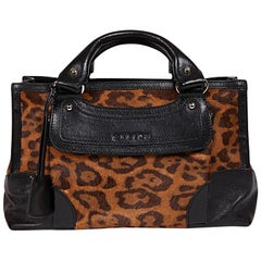 CELINE Boogie Model Bag in Leopard Printed Foal and Black Leather