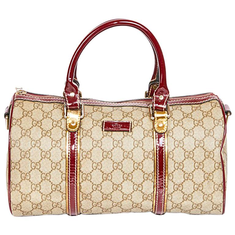 a602038333e1 GUCCI Bag, Speedy Model, in Gray Monogram Canvas and Burgundy Patent  Leather For Sale at 1stdibs
