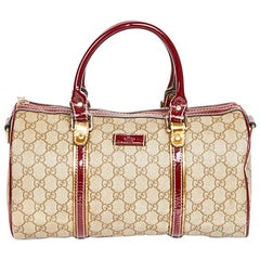 GUCCI Bag, Speedy Model, in Gray Monogram Canvas and Burgundy Patent Leather