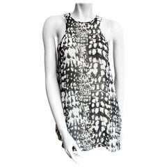 LUTZ HUELLE Ensembles Dress and Top in Printed Black and White Silk Size 36