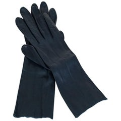 Navy Kidskin Leather Dress Gauntlet Gloves, 1950s