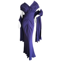 Christian Dior by John Galliano Purple Vintage Silk Lined Evening Dress w Shawl