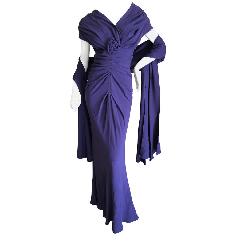 Christian Dior by John Galliano Purple Vintage Silk Lined Evening Dress w Shawl For Sale