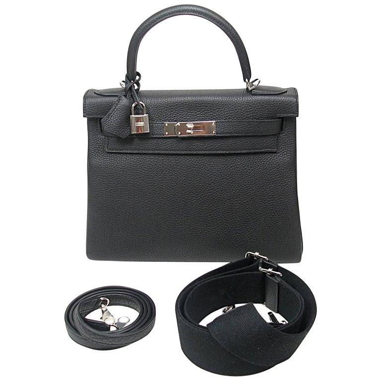 fe6024eda1d77 Hermes Bi Colour Kelly 28 aus schwarzem Togo-Leder mit Palladium-Beschlägen  1