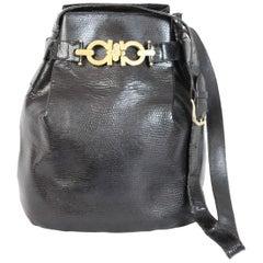 1980s Salvatore Ferragamo Black Python Skin Leather Bucket Bag