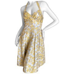 Moschino Cheap & Chic Vintage Silver Brocade Yellow Leaf Pattern Cocktail Dress