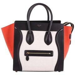 Celine Tricolor Luggage Handbag Canvas and Leather Mini