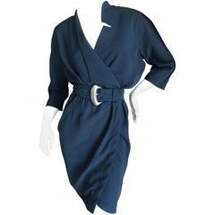Thierry Mugler Paris Snap Front Black Cotton Wrap Dress with Belt
