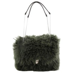 Celine Chain Flap Bag Shearling Small
