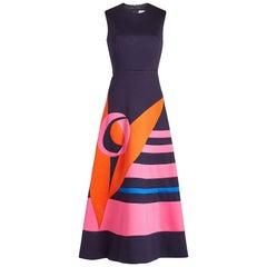 DELPOZO Color-block Neoprene Midi Dress ES40 Seen On Melania Trump NEW