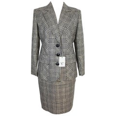 New 1990s Valentino Gray Prince de Galles Wool Skirt Suit Dress Size 10 Us