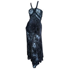 Sonia Rykiel Black Devore Velvet and Lace Vintage Dress