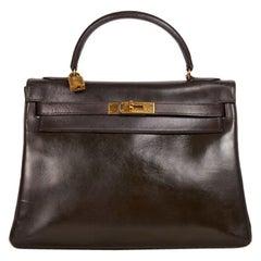 HERMES Vintage Kelly 32 Handbag in Brown Box Leather