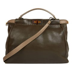 FENDI Tote Bag, Peekaboo Model, in Two-Tone khaki and iridescent brown Leather