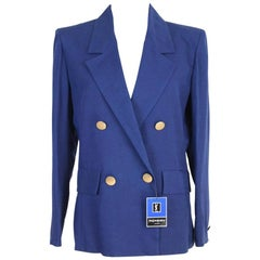 New 1990s Yves Saint Laurent Electric Blue Double Breasted Jacket Blazer