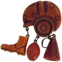 1930s Resin Washed Bakelite Figural Football Brooch/Pin Thematic Charm Drops