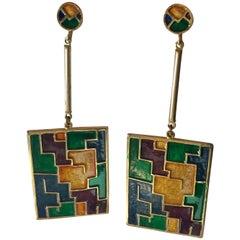 Kramer Mid Century Enamel Modernist Drop Clip ON Earrings