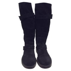 Ann Demeulemeester Black Suede Knee-High Boots