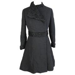 1980s Genny by Versace Black Astrakhan Fur Dress Coat
