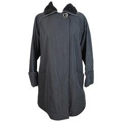 1980s Gianni Versace Leather Fur Collar Insert Black Cape Coat